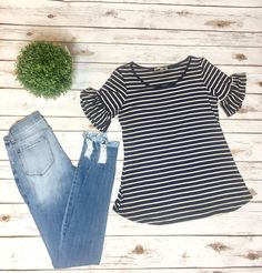 Belled Beauty Tee-Navy - perfect spring fashions and summer fashions