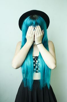 Dyed turquoise pastel hair