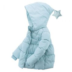 Cute Unisex Toddler Star Hooded Down Sweater/Jacket Warm Winter Outerwear Blue