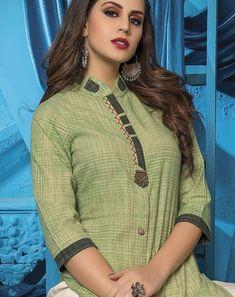 "Fall in love with super cool kurti & palazzo sets from by Shivali. The all-new ""Womaniya is all about vivid colours & breezy styles. Approx MRP: 1600 to 1700 Rs Per Piece. Kurta Designs Women, Salwar Designs, Blouse Designs, Designer Punjabi Suits, Indian Designer Wear, Khadi Kurta, Stylish Kurtis, Kurta Style, Kurta Neck Design"