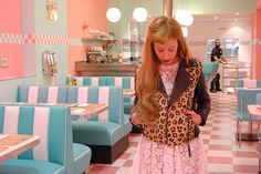 Retro Diner Design - would be cute but with black and white stripes, pink walls - basement bakery