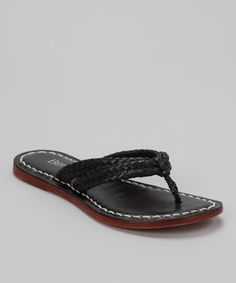 Take a look at this Chocolate Leather Miami Woven Thong Sandal by Bernardo on #zulily today!
