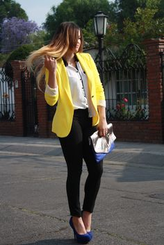 Yellow blazer with blue shoes