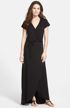 Loveappella Cap Sleeve Faux Wrap Jersey Maxi Dress (Regular & Petite) on shopstyle.com