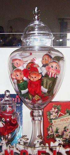 Vintage Kneehugger Elves In Apothecary Jar