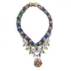 """WOVEN CHAIN NECKLACE from Erickson Beamon Rocks.  24KT ANTIQUE GOLD PLATE, OIL SLICK PLATE, WOVEN BLACK & WHITE LACE, JET & NEON YELLOW ACRYLIC STONES, CRYSTAL, BLACK DIAMOND, PINK, GREEN FUCHSIA & AMETHYST GLASS STONES, GLASS PEARL CABOCHONS LENGTH: 17"""" + 3"""" EXTENSION"""