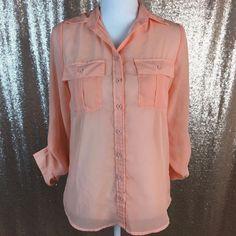 Rue21 Peach Coral Sheer 3/4 length Cuffed Sleeves Button Down Lightweight Blouse #rue21 #ButtonDownShirt