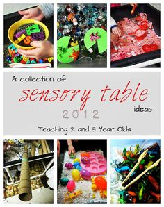 Here are some of our sensory tubs, most from 2012. Enjoy! letters, tongs, French lentils large colander, ladles, rocks and water melting ice, basters and tubes dried corn, cornmeal, sifters and funnels dinosaurs and French lentils fall: dyed macaroni, pine cones, sticks and scoops foam letters in soapy water memory foam pillow, lots of soap, …
