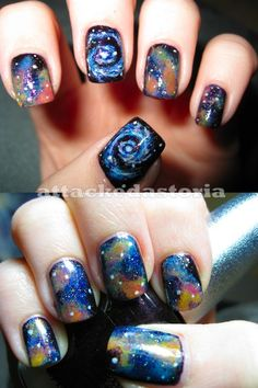 Image viaCheck out this gallery of galaxy nail art if you need inspiration for your next manicure!Image viaSimple, Realistic Galaxy Nails Tutorial, featuring JINsoon Obsidian - This is Love Nails, How To Do Nails, Fun Nails, Pretty Nails, Crazy Nails, Gradient Nails, Gorgeous Nails, Nail Art Modele, Galaxy Nails Tutorial