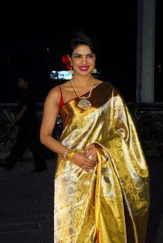 Priyanka Chopra Latest Hot Stills In Yellow Saree