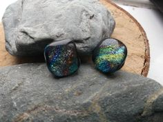 A rainbow of dichroic fused glass cuff links, perfect accessories for either sex by deblizaccessories on Etsy