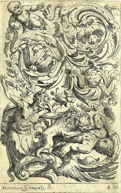 Scrolls with a lion attacking two satyrs (1600-25) (by Fialetti after Giancarli) by peacay, via Flickr
