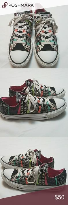 Converse Low Top Aztec Print Sneakers Size 9 These Aztec print low top Converse sneakers are in great shape but they need some TLC and have a few signs of wear like letter fading,  creasing in the back and they could also use a good cleaning.  My home is smoke-free and pet-free.  Check out the other items in my closet to bundle two or more items for a great bundle discount.  I consider all offers.  Happy Poshing! Converse Shoes Athletic Shoes