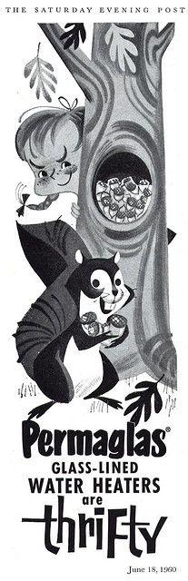 Permaglas print ad from Saturday Evening Post Illustrator unknown June 1960 Vintage Advertisements, Vintage Ads, Vintage Posters, Vintage Illustration Art, Graphic Illustration, Retro Cartoons, Poster S, Cartoon Design, Advertising Poster