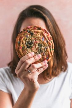 Crispy and Chewy Giant Funfetti Cookies