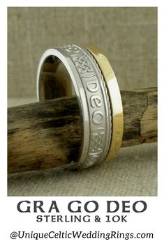 Gra Go Deo Wedding Ring mm with Rail Edge — Unique Celtic Wedding Rings Irish Wedding Rings, Irish Celtic, Mixed Metals, Sterling Silver Rings, Rings For Men, Engagement Rings, Unique, Gold, Jewelry