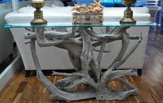 Glass top driftwood sofa table | Driftwood Decor