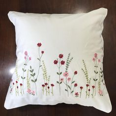 Embroidered cotton pillow cover White cushion pillowcase with red and pink flower; Wedding, birthday, easter, anniversary, housewarming gift - Embroidered cotton pillow cover White cushion pillowcase with Cushion Embroidery, Embroidery Flowers Pattern, Hand Embroidery Stitches, Hand Embroidery Designs, Diy Embroidery, Japanese Embroidery, Embroidery Needles, Embroidered Flowers, Diy Embroidered Pillow