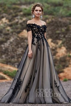 Black Champagne colored wedding dress by CocoMelody unique vintage off the shoulder lace ball gown wedding dress with tulle princess skirt See more gorgeous wedding dre. Champagne Colored Wedding Dresses, Black Wedding Gowns, Gorgeous Wedding Dress, Beautiful Gowns, Gown Wedding, Tulle Wedding, Unique Colored Wedding Dresses, Dream Wedding, Black Weddings