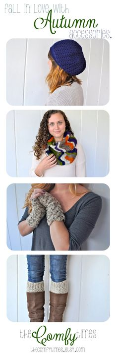 Fun Women's Fall Acccessories.  Navy Slouchy hat, chevron infinity scarf, oatmeal fingerless gloves, and crochet boot cuffs.  Crochet Women's Autumn Accessories from theComfyTimes on Etsy. #chevron #crochet #accessories #pumpkin #navy