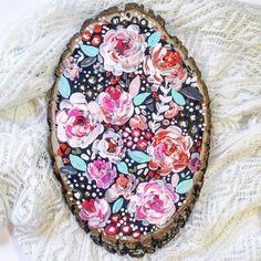 Floral Wood Slice: Navy Hot Pink Blue by KTsCanvases on Etsy