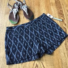 """NWT Gap shorts NWT Gap shorts size 2. Clean front. Sits below the waist. Inseam 3 1/2"""". Black and white, ikat fabric. Dye and weave process. Dyed by hand and woven on traditional looms. 100% cotton. GAP Shorts"""