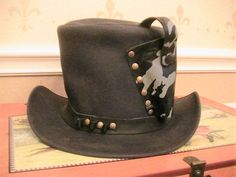 New Handmade Black Steampunk Western Leather Top  Hat with Holster Medium Size M…
