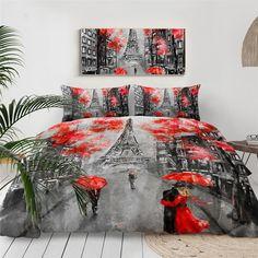 Queen Bedding Sets, Comforter Sets, 3d Bedding, Unique Bedding, Paris Tower, Couple Bed, Romantic Paris, Red Umbrella, Bed Covers
