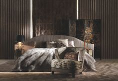 Available to be upholstered in either fabric or leather, design your perfect interior with the Smoking bed from the Roberto Cavalli Home Interior's Iconic Collection stocked at www.kofc.co.uk