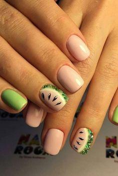 Untitled holiday nails fruit nail art, nail designs na Nail Designs 2017, Short Nail Designs, Nail Art Designs, Fruit Nail Designs, Nails Design, Cute Summer Nail Designs, Cute Summer Nails, Nail Summer, Design Ongles Courts