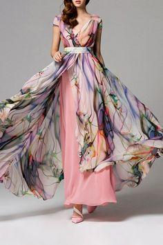 Split Floral Maxi Swing Dress - SHALLOW PINK M