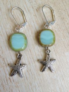 Starfish Earrings with Blue and Green Glass by BeachDaisyJewelry