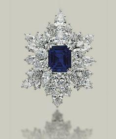 Estrella de invierno. Broche zafiro brillantes. ººº Winter Star. Bright sapphire brooch.