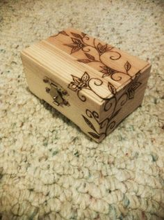 Simple wood burned flower design box