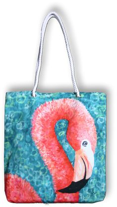 My Island offers vivid colorful decor and apparel products featuring original paintings Flamingo Beach, Swimming Gear, Personalized Tote Bags, Canvas Bags, Colorful Decor, Totes, Original Paintings, Kids Rugs, Sun