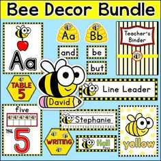 Bee Theme Classroom Decor Bundle: Create a fun and whimsical bee themed classroom with this quality dcor set. There are 341 pages of printable fun in this value packed theme including classroom jobs labels, teacher binder covers, name tags and labels, nameplates, alphabet posters, numbers posters, bunting, centers signs, table signs, a word wall and hall passes.