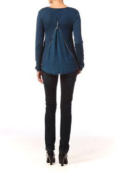Top avec ouverture dos zippée Alice Majolica blue Vero Moda sur MonShowroom.com