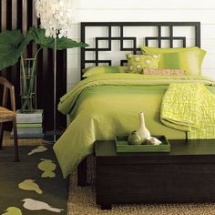 Green natural bedroom design. I'm just taking ideas from the decor, I don't care too much for the bright green bedding.