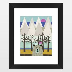 Fun Indie Art from BoomBoomPrints.com! https://www.boomboomprints.com/Product/elenor/Winter_Sleep/Framed_Art_Prints/11x14_White_Mat_-_Black_Frame/
