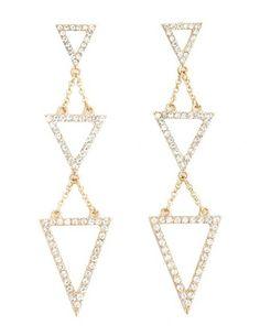 Rhinestone Triangle Dangle Earrings: Charlotte Russe