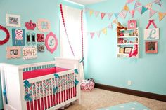 Project Nursery - Lila's Pink and Turquoise Nursery Bunting Flag Wall Nursery Bunting, Boho Nursery, Nursery Neutral, Nursery Themes, Girl Nursery, Nursery Ideas, Calming Nursery, Babies Nursery, Nursery Decor