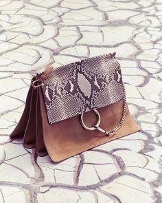 Chloe Fay Python Flap Shoulder Bag