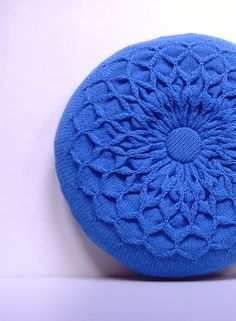Blue Pillow. Knitted Circular Waffle Cushion. Bright Blue Pillow Hand Puckered Waffle Design. Round Pillow Medium Size. $55.00, via Etsy.