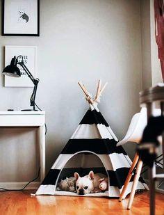 ESTILO PET | Será que  existe uma caminha mais estilosa do que esta? O preto e branco arrasam em qualquer decoração! #inspiracao #DIY #decooracao #pet #ficaadica #SpenglerDecor