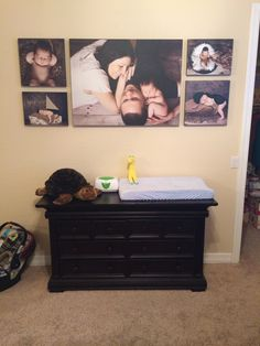 Newborn collage of canvas pictures in the nursery