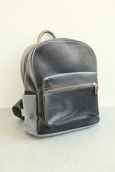 Velvet Backpack - Grey   Shalex