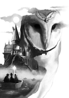 Harry Potter art, owl, Hogwarts, snitch, golden trio...