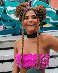 ▷ ideas for beautiful ghana braids for summer 2019 - girl smiling, wearing a pink bandana, light brown hair in two buns, cute braid styles, large hoop e - Box Braids Hairstyles, Curly Hair Braids, Blonde Box Braids, Short Box Braids, Sporty Hairstyles, French Braid Hairstyles, Trending Hairstyles, Curly Hair Styles, Pink Box Braids
