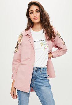Missguided - Pink Oversized Sequin Floral Badge Denim Shirt