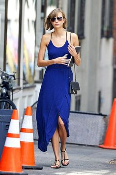 Karlie Kloss blue sundress.  Pretty, but this poor girl looks anorexic!!